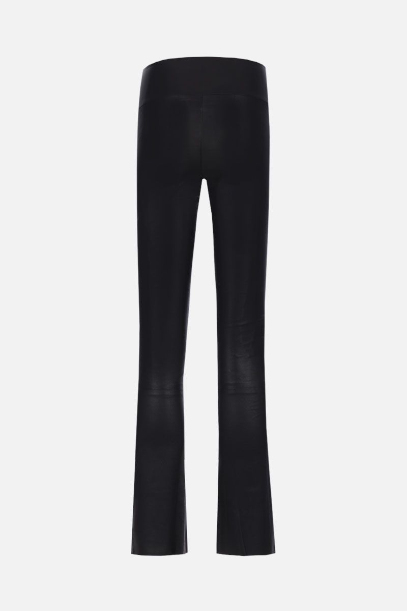 SPRWMN: stretch leather crop flare leggings Color Black_2