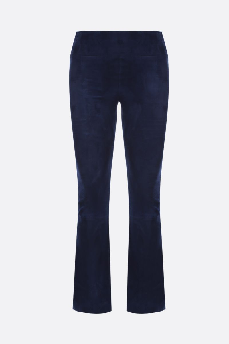 SPRWMN: stretch suede crop flare leggings Color Blue_1