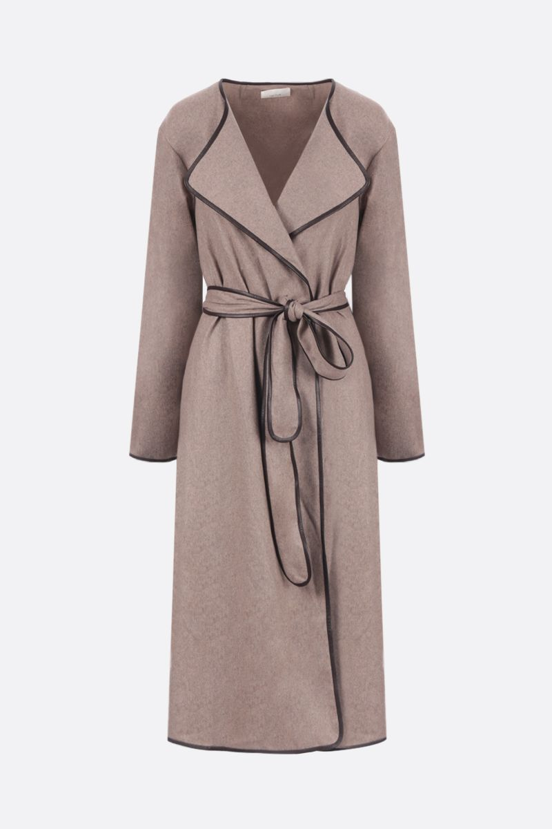 THE ROW: Helga cashmere coat with leather trims Color Grey_1