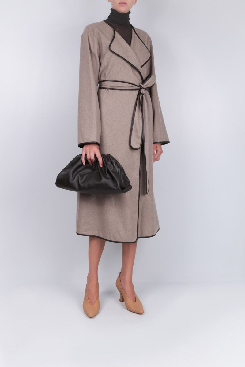 THE ROW: Helga cashmere coat with leather trims Color Grey_2