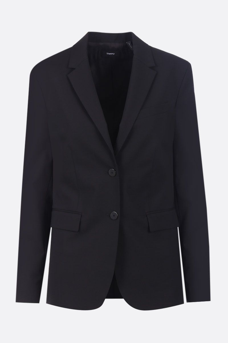 THEORY: stretch wool single-breasted jacket Color Black_1
