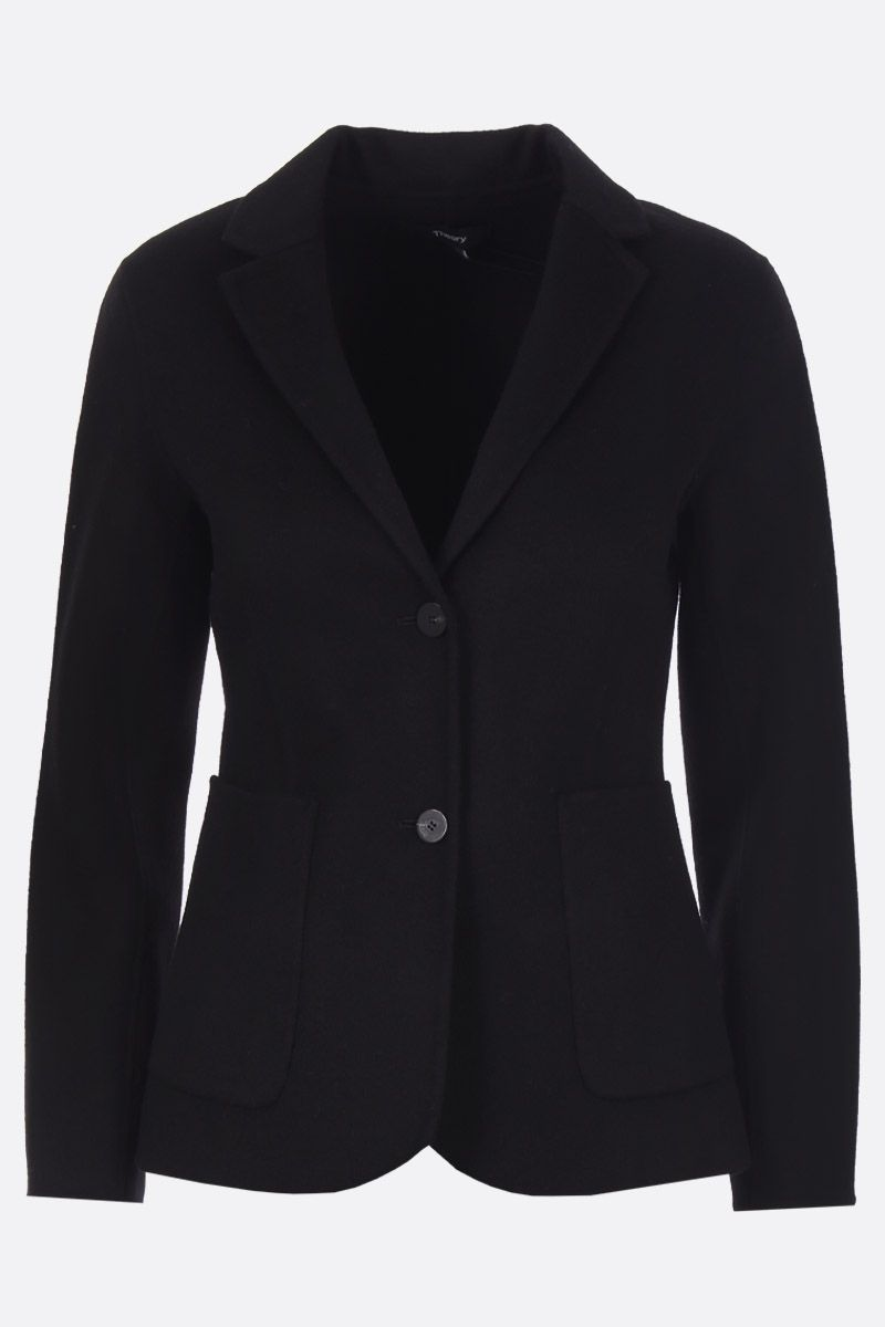 THEORY: Shrunken single-breasted jacket in wool and cashmere Color Black_1