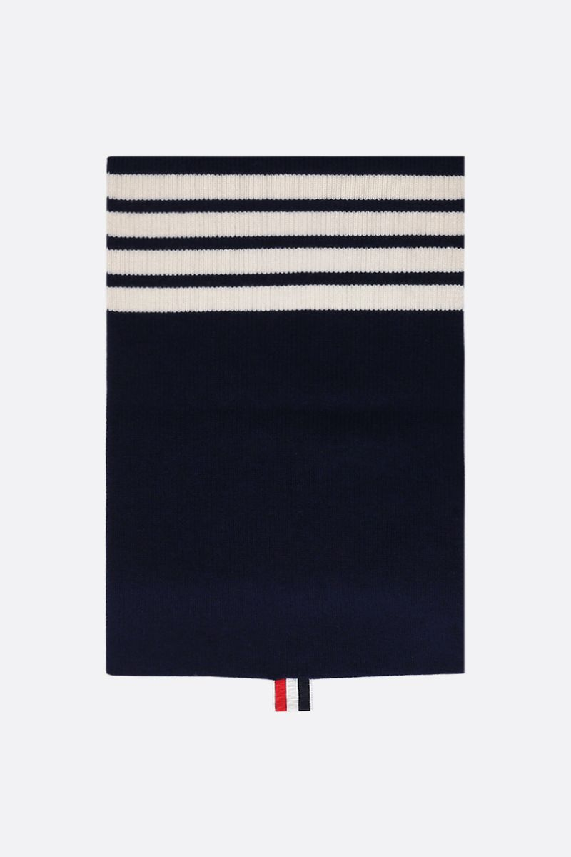 THOM BROWNE: 4-bar detail cashmere scarf Color Blue_1