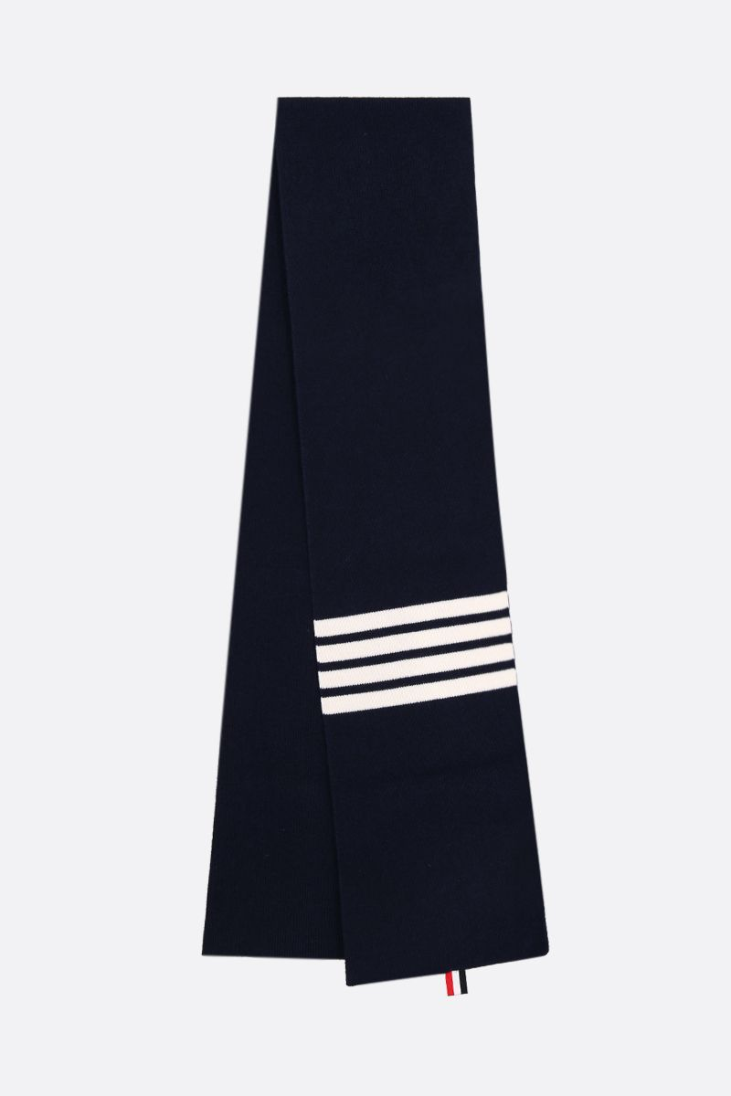 THOM BROWNE: 4-bar detail cashmere scarf Color Blue_2