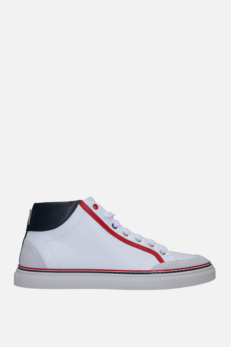 THOM BROWNE: high-top sneakers in smooth leather Color White_1