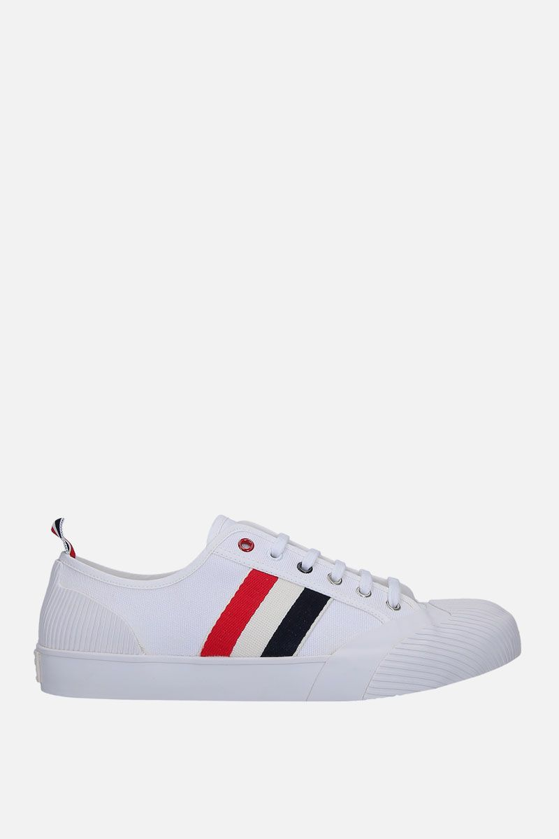 THOM BROWNE: canvas sneakers with tricolor details Color White_1
