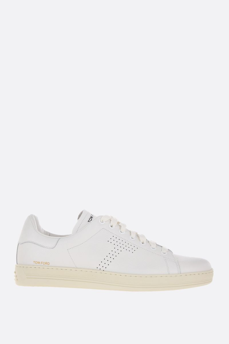 TOM FORD: Warwick low-top sneakers in grainy leather Color White_1