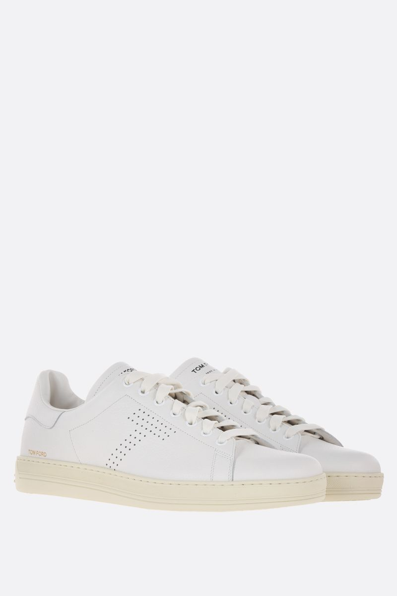 TOM FORD: Warwick low-top sneakers in grainy leather Color White_2
