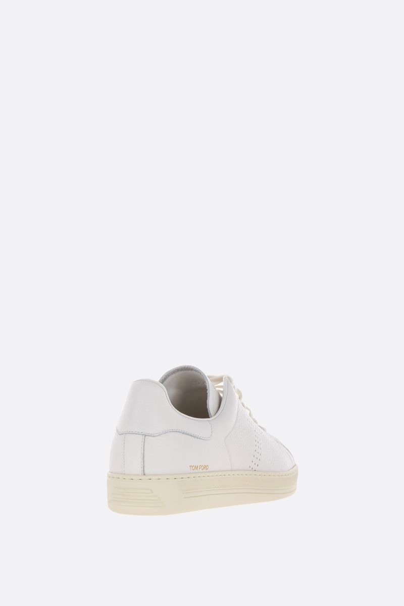 TOM FORD: Warwick low-top sneakers in grainy leather Color White_3