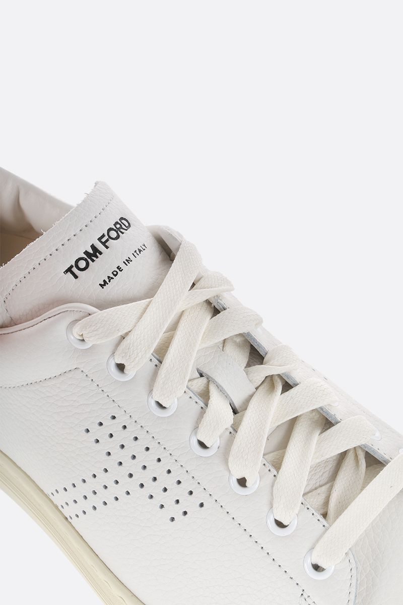 TOM FORD: Warwick low-top sneakers in grainy leather Color White_4