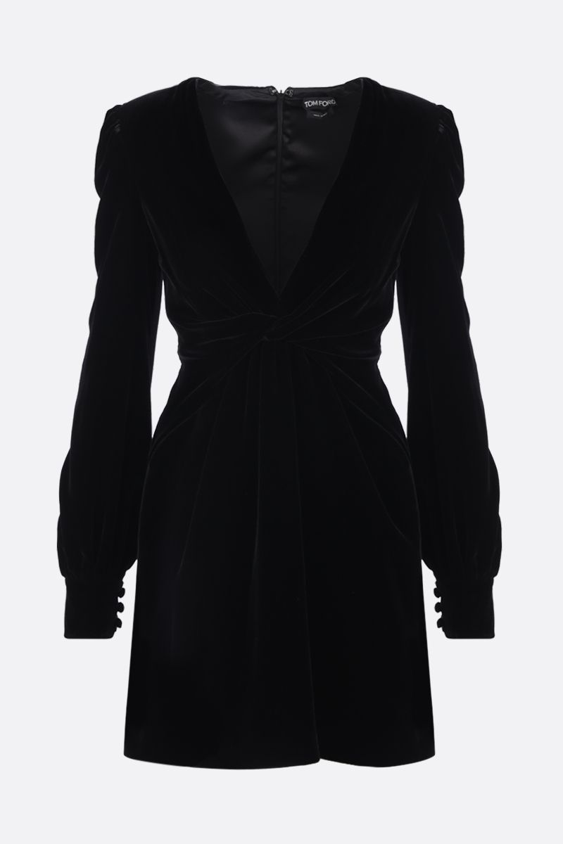 TOM FORD: velvet minidress with twisted detail Color Black_1
