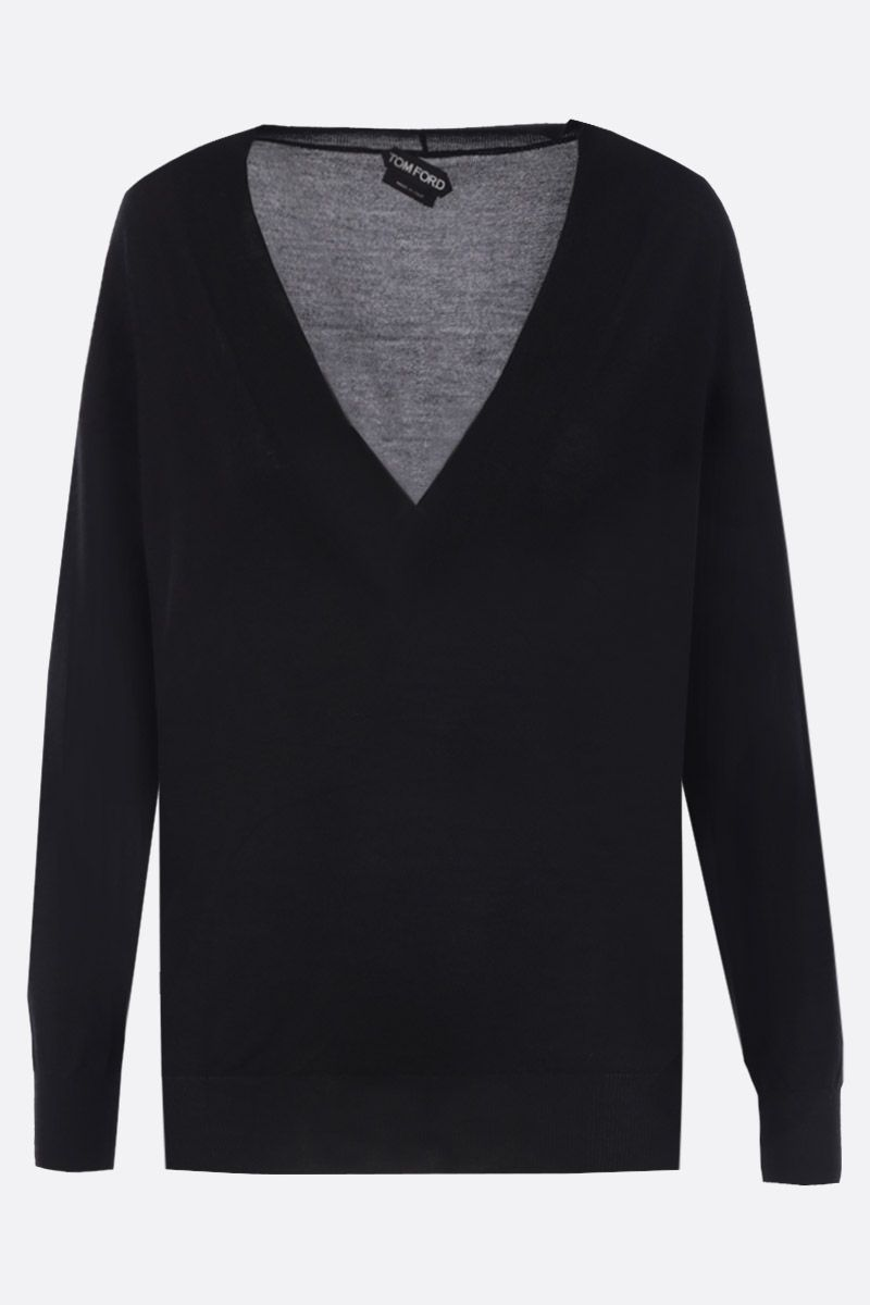 TOM FORD: cashmere silk blend lightweight pullover Color Black_1