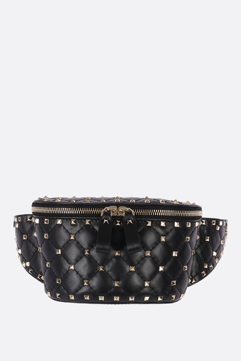 VALENTINO GARAVANI: Rockstud Spike belt bag in quilted nappa Color Black_1