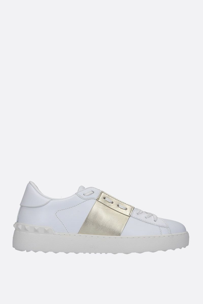 VALENTINO GARAVANI: Open sneakers in smooth and laminated leather Color Gold_1