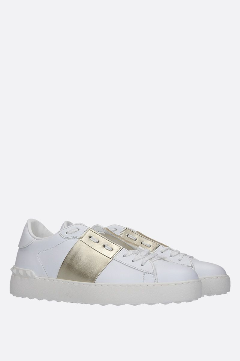 VALENTINO GARAVANI: Open sneakers in smooth and laminated leather Color Gold_2