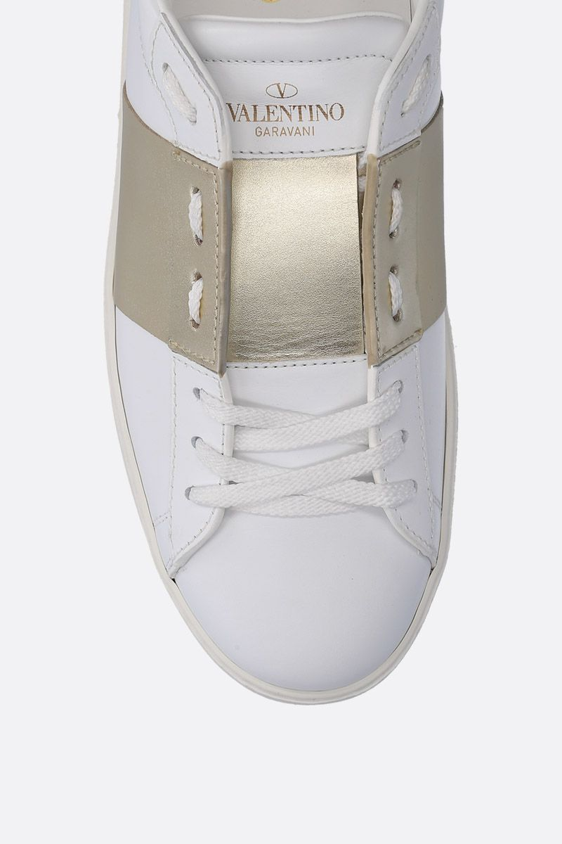 VALENTINO GARAVANI: Open sneakers in smooth and laminated leather Color Gold_4