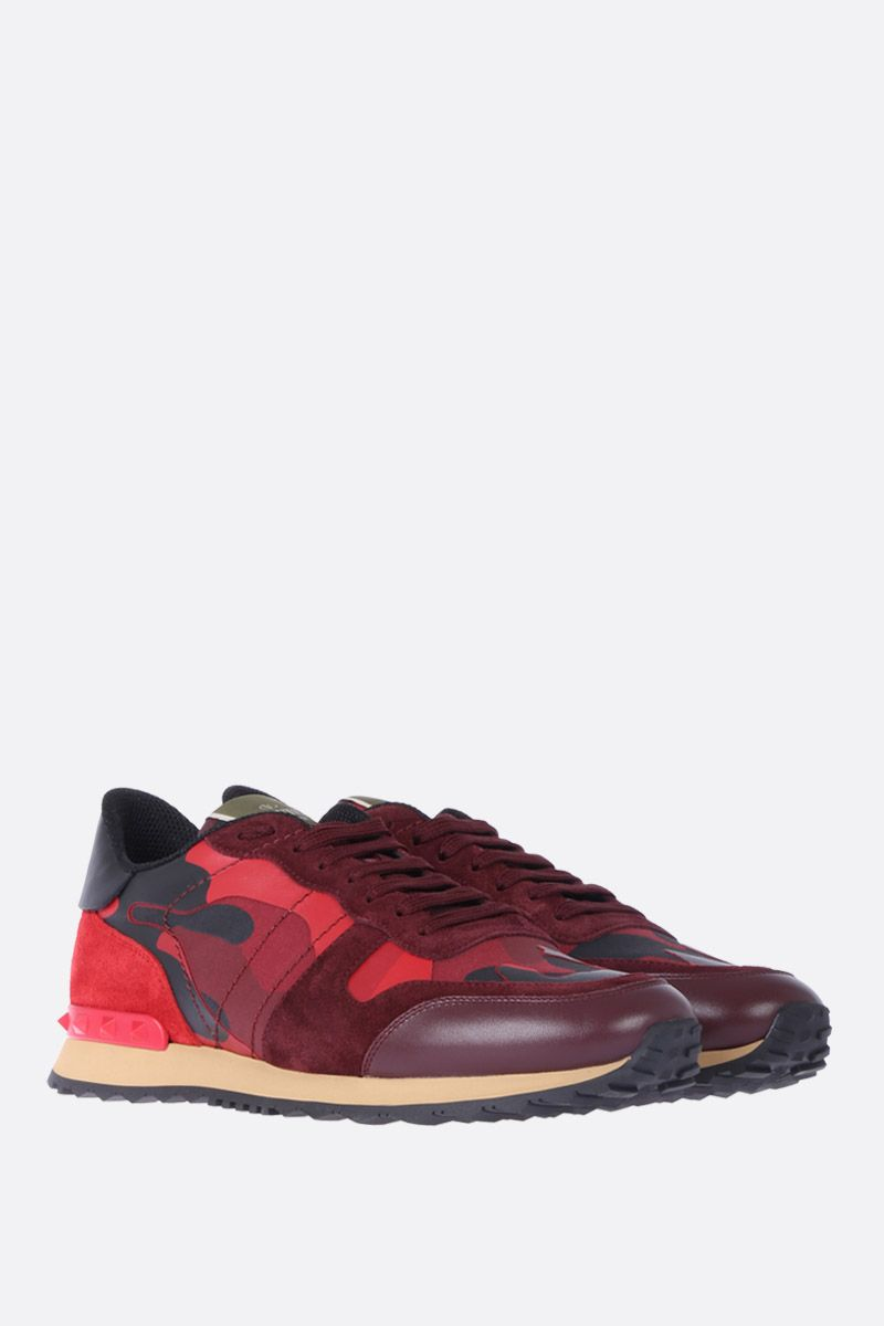 VALENTINO GARAVANI: Rockrunner Camouflage sneakers in fabric and nappa Color Red_2