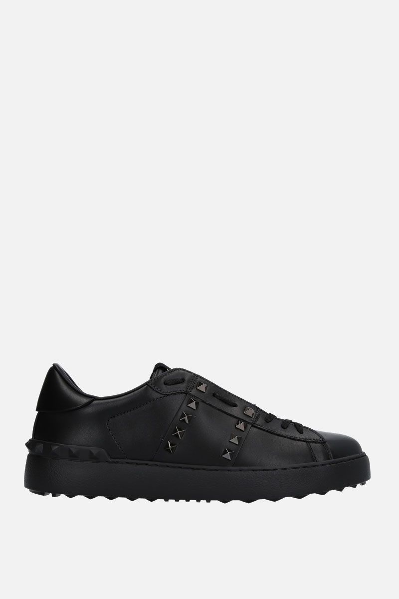 VALENTINO GARAVANI: Open Rockstud Untitled Noir sneakers in smooth leather Color Black_1