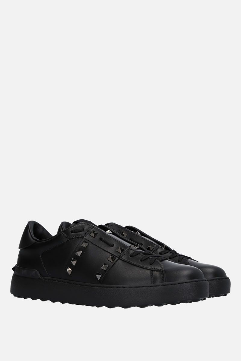 VALENTINO GARAVANI: Open Rockstud Untitled Noir sneakers in smooth leather Color Black_2
