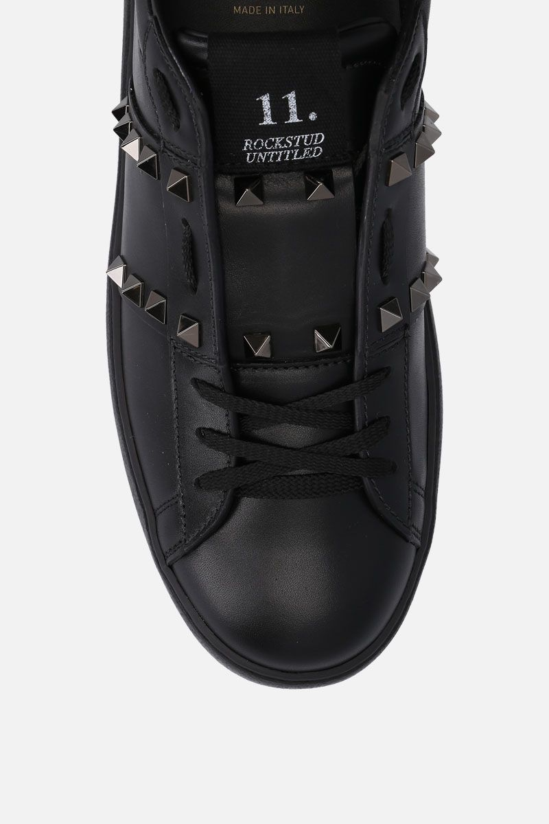 VALENTINO GARAVANI: Open Rockstud Untitled Noir sneakers in smooth leather Color Black_4