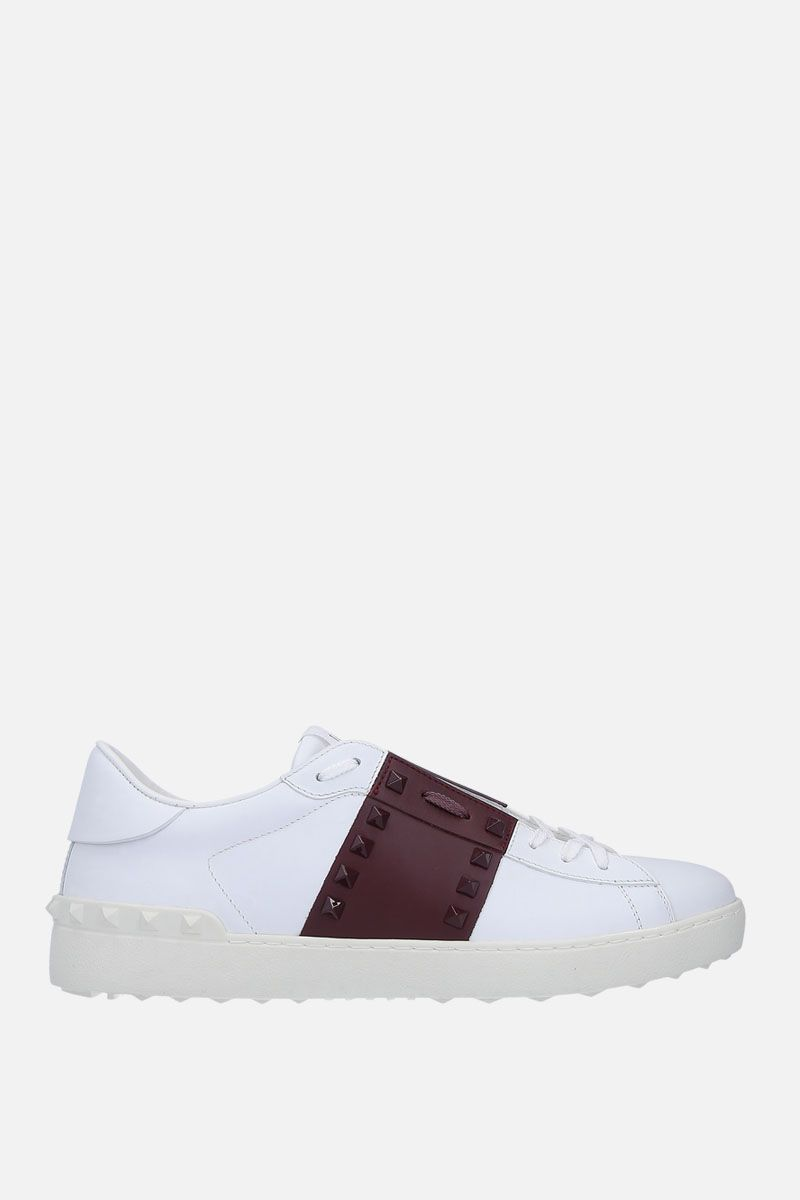 VALENTINO GARAVANI: Open Rockstud Untitled sneakers in smooth leather Color White_1