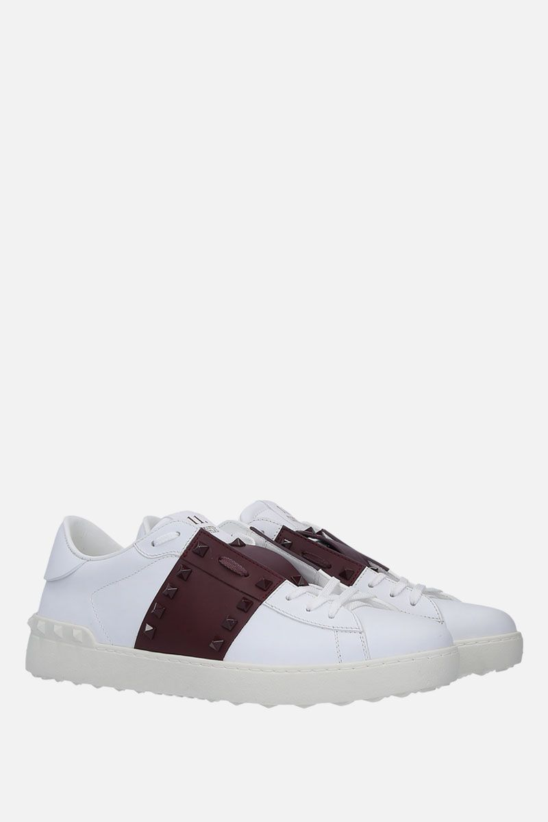 VALENTINO GARAVANI: Open Rockstud Untitled sneakers in smooth leather Color White_2