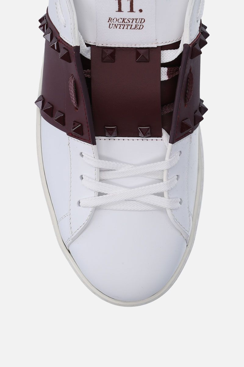 VALENTINO GARAVANI: Open Rockstud Untitled sneakers in smooth leather Color White_4
