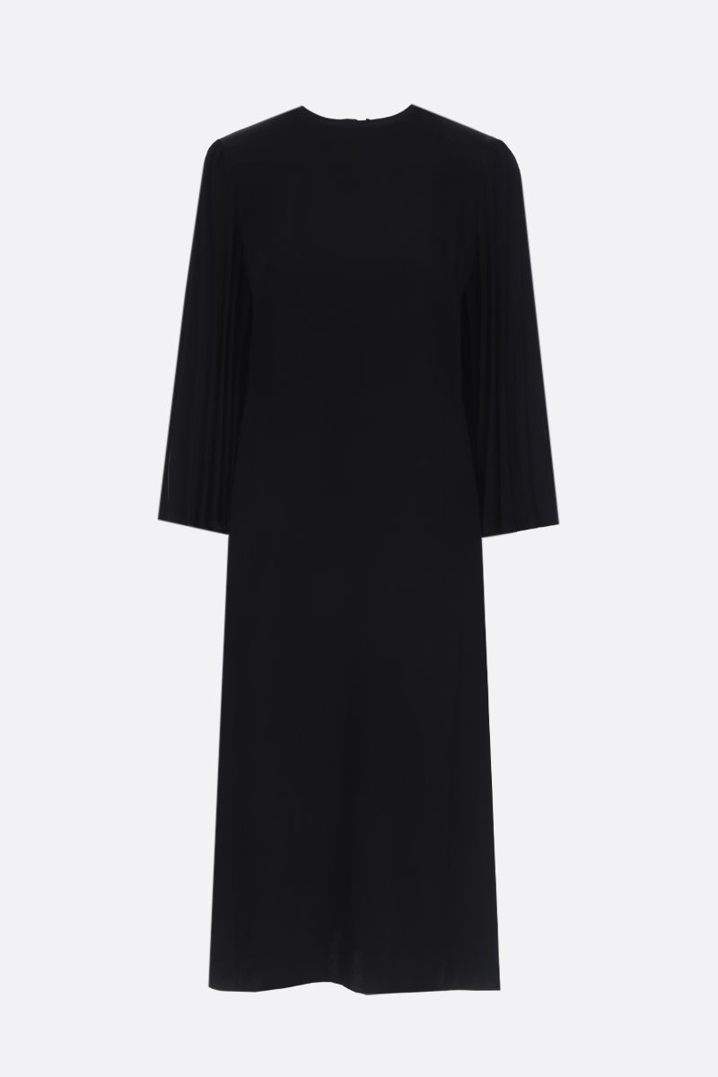 VALENTINO: crepe midi dress with pleated details Color Black_1