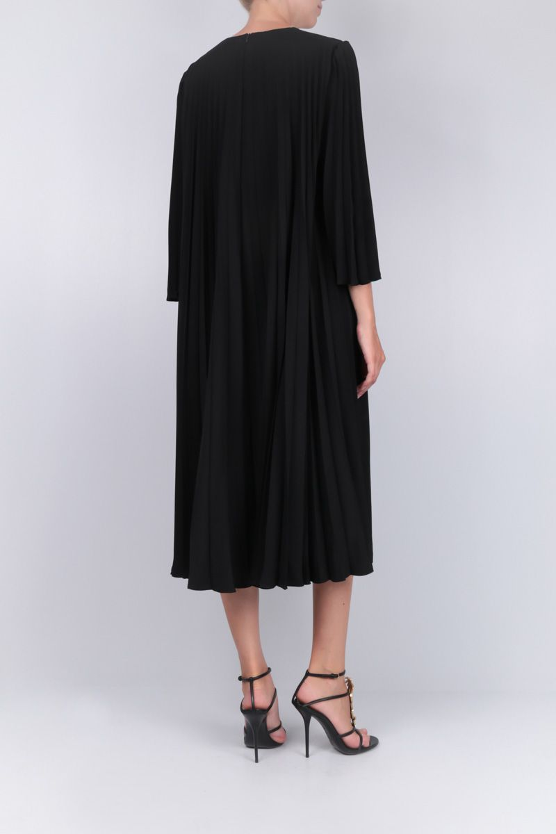 VALENTINO: crepe midi dress with pleated details Color Black_2