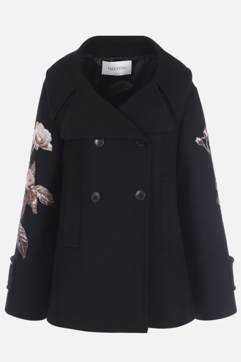 VALENTINO: roses embroidered wool double-breasted coat Color Multicolor_1