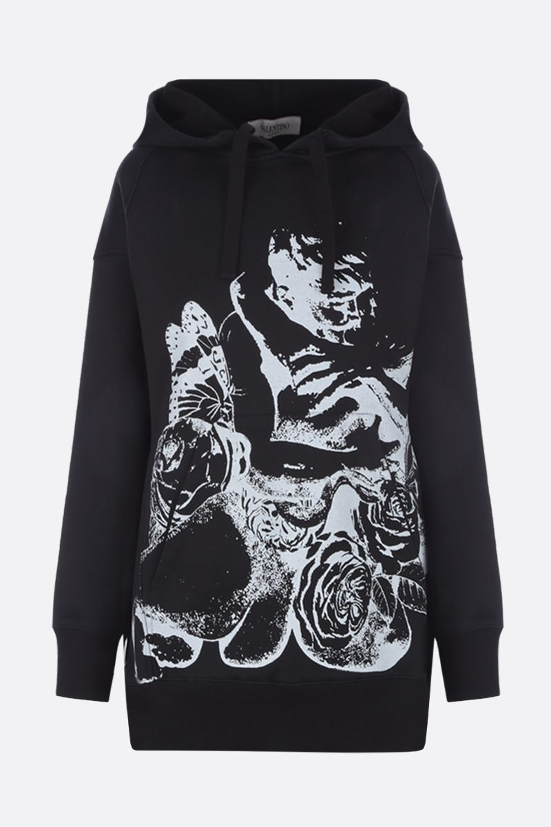 VALENTINO: Lovers print jersey oversized hoodie Color Black_1