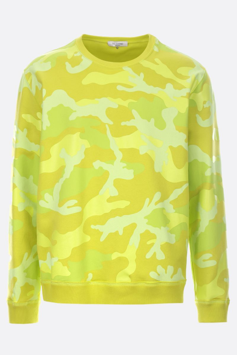 VALENTINO: camouflage print jersey sweatshirt Color Yellow_1