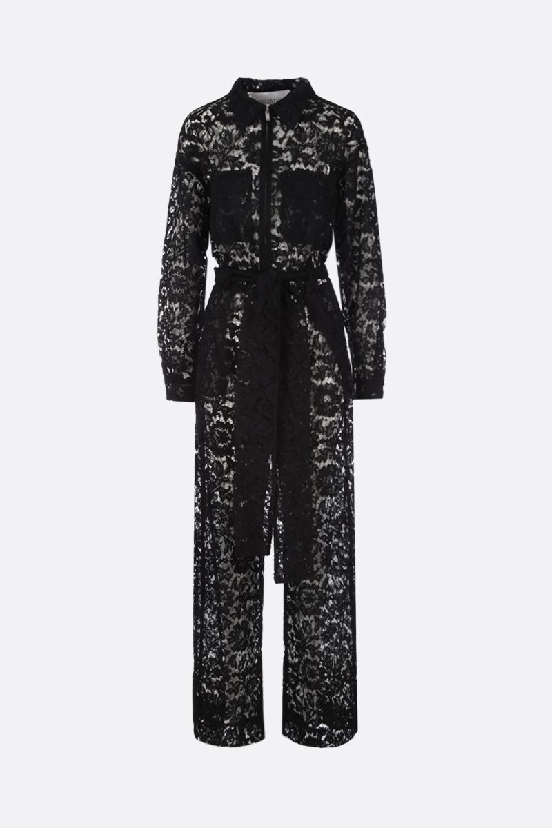 VALENTINO: jumpsuit in Heavy Lace Colore Nero_1
