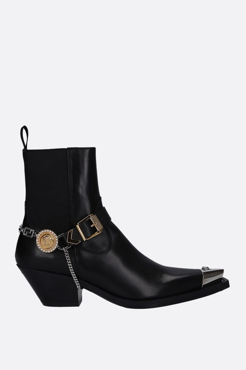 VERSACE: western boots in smooth leather with Medusa harness Color Black_1