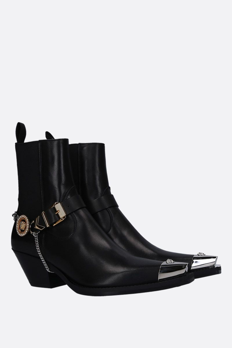 VERSACE: western boots in smooth leather with Medusa harness Color Black_2