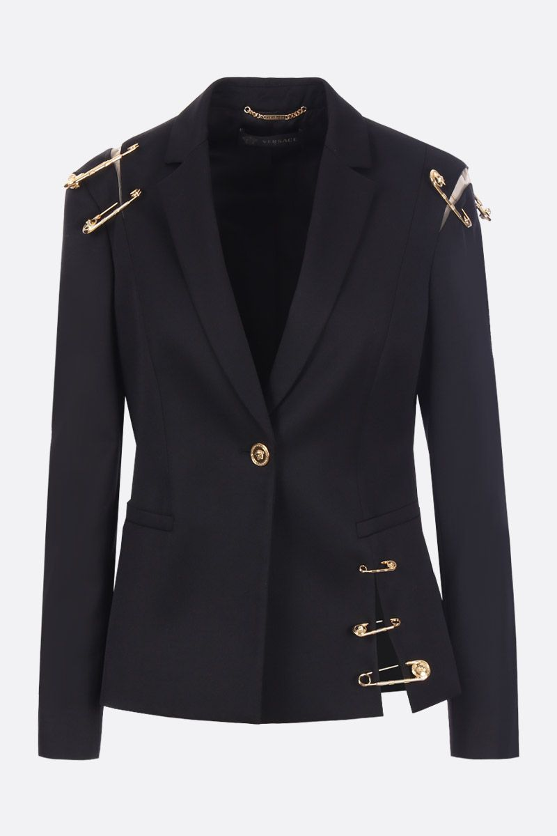 VERSACE: wool single-breasted jacket with Medusa Safety Pin Color Black_1