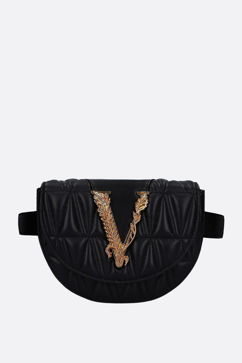 VERSACE: Virtus belt bag in quilted nappa Color Black_1