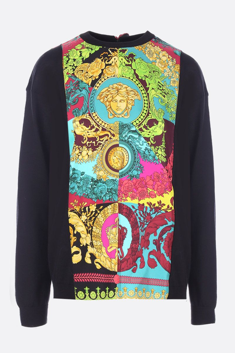 VERSACE: silk and cotton pullover with Voyage Barocco twill insert Color Multicolor_1