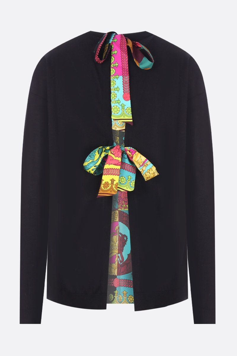 VERSACE: silk and cotton pullover with Voyage Barocco twill insert Color Multicolor_2