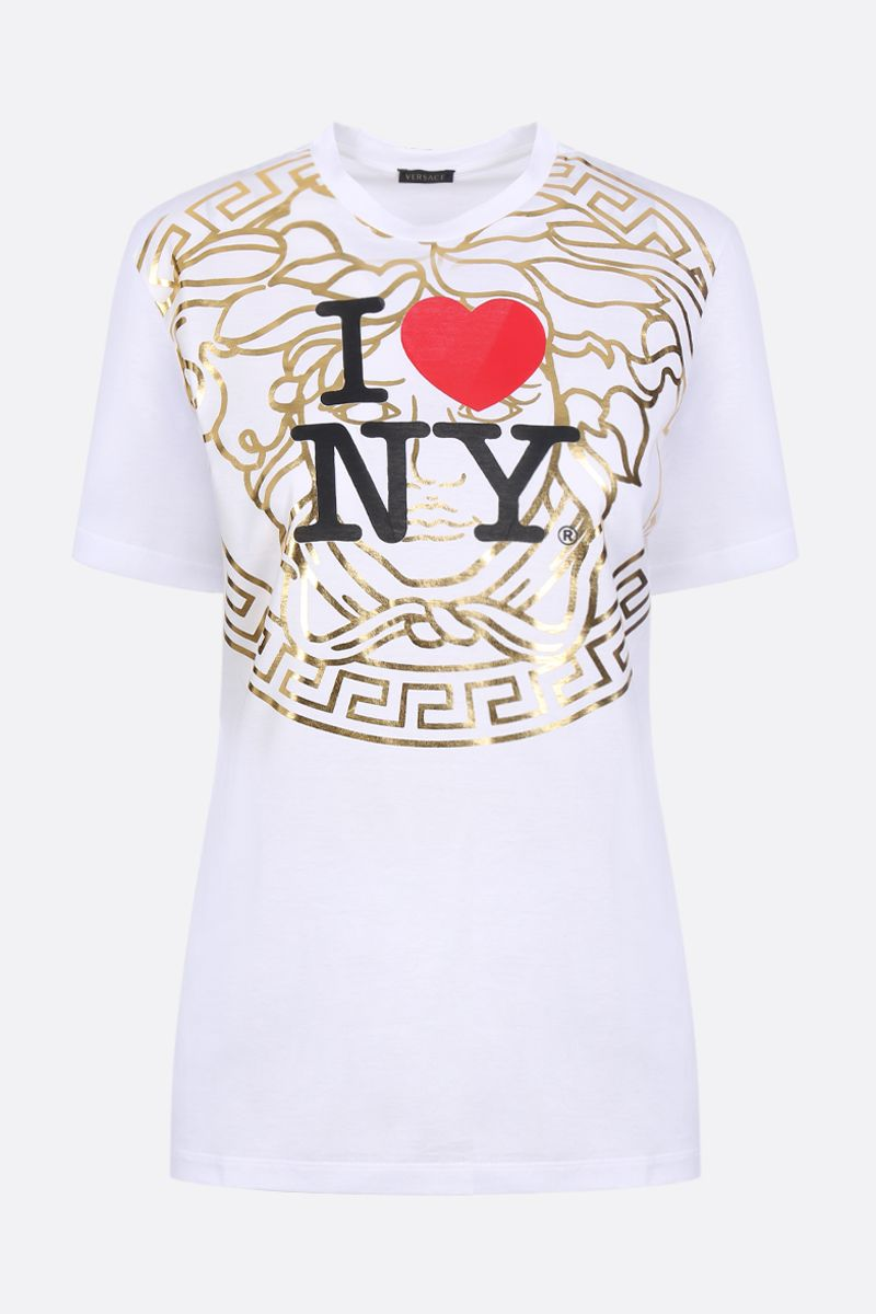 VERSACE: I Love NY print jersey t-shirt Color White_1