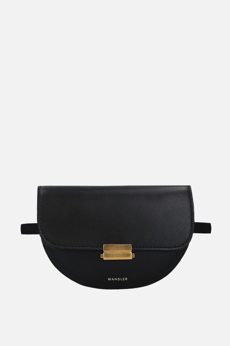WANDLER: Anna buckle belt bag in smooth leather Color Black_1