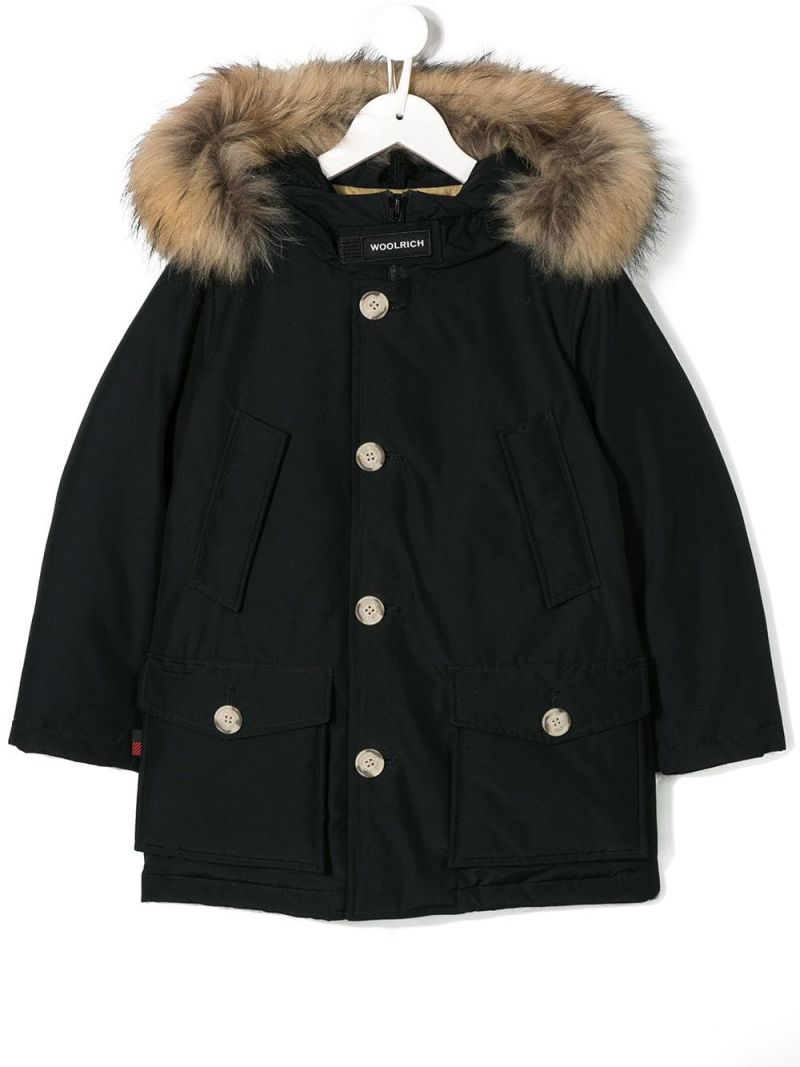 WOOLRICH KIDS: technical cotton down jacket Color Blue_1