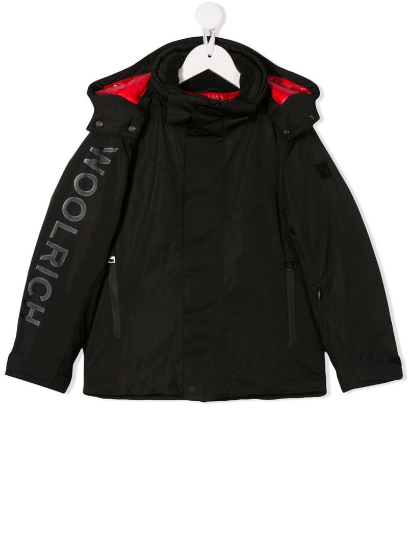 WOOLRICH KIDS: technical fabric hooded jacket Color Black_1