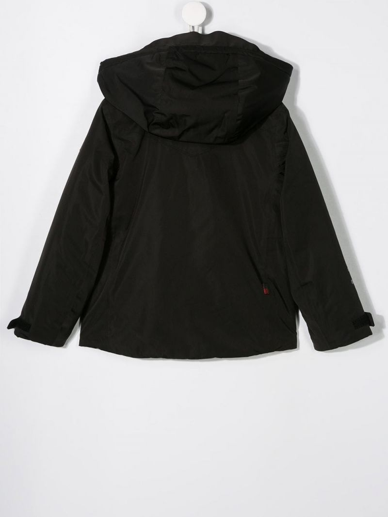 WOOLRICH KIDS: technical fabric hooded jacket Color Black_2