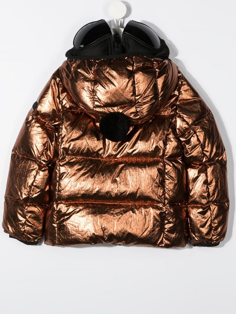 AI RIDERS ON THE STORM KIDS: PVC lenses-detailed nylon down jacket Color Gold_2