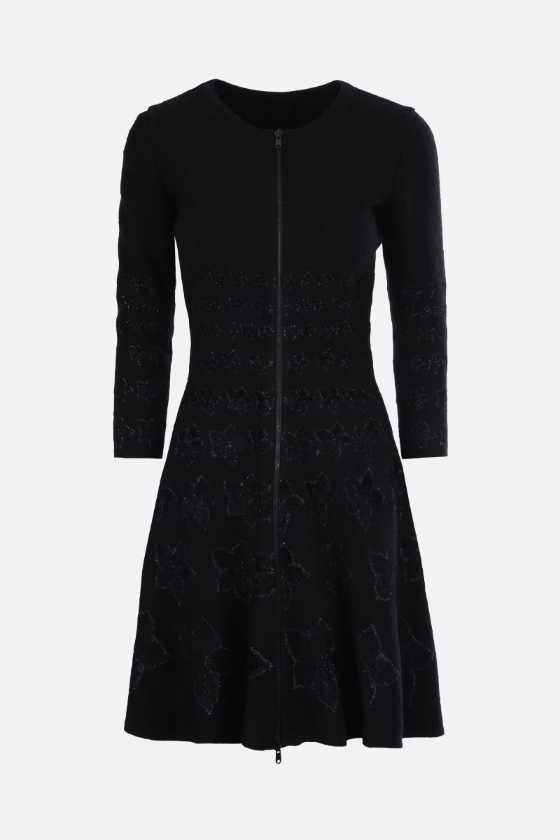 ALAIA: floral knit short dress Color Black_1