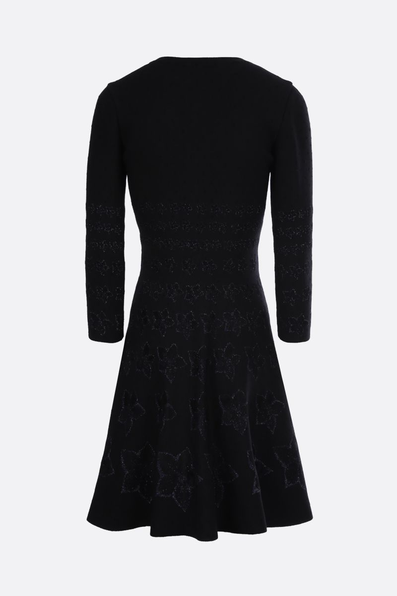 ALAIA: floral knit short dress Color Black_2