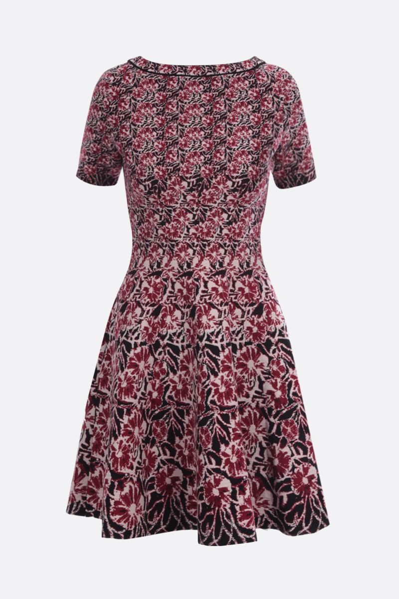 ALAIA: Plumeria motif wool blend short dress_1