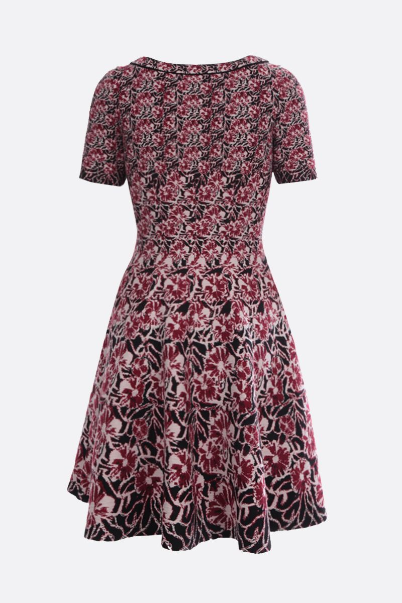 ALAIA: Plumeria motif wool blend short dress_2