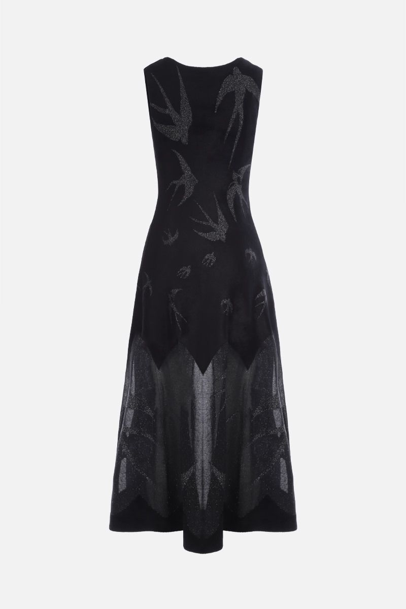 ALAIA: Hirondelle motif velour and lurex sleeveless dress Color Black_2